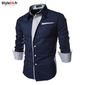 Chemise Hot Fashion Men | Bleu Style24.fr Vêtements Chemises Blue / M -35% color-blue homme style24-fr under-20 vetements-chemises