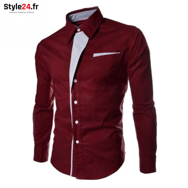 Chemise Hot Fashion Men | Bordeaux Style24.fr Vêtements Chemises bordeaux / M -35% color-bordeaux color-rouge homme style24-fr under-20