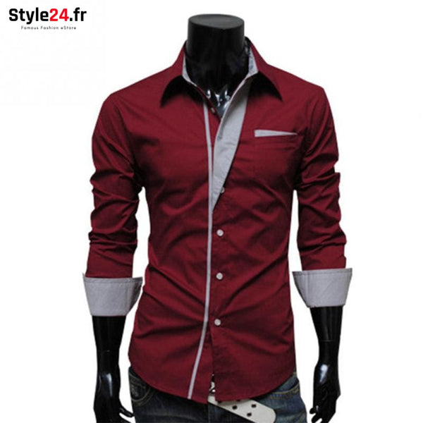 Chemise Hot Fashion Men | Bordeaux Style24.fr Vêtements Chemises color-bordeaux color-rouge homme style24-fr under-20 www.style24.fr