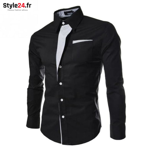 Chemise Hot Fashion Men | noir Style24.fr Vêtements Chemises Black / M -35% color-black color-noir homme style24-fr under-20 www.style24.fr