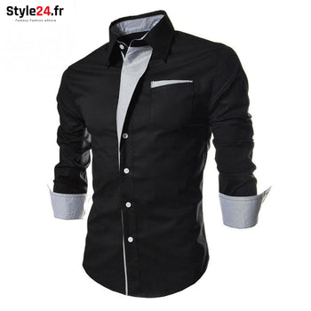 Chemise Hot Fashion Men | noir Style24.fr Vêtements Chemises color-black color-noir homme style24-fr under-20 www.style24.fr