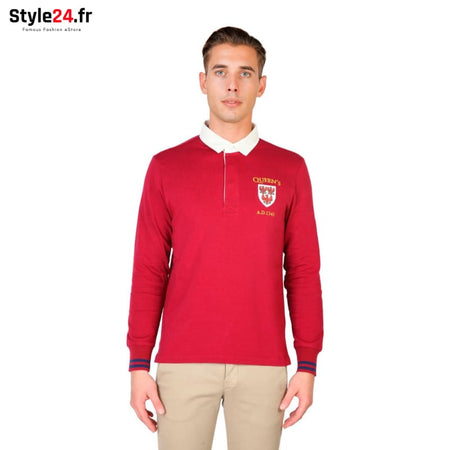 Oxford University - QUEENS-POLO-ML Vêtements Polo red / S -75% Brand_Oxford Category_Vêtements Color_Rouge Gender_Homme Subcategory_Polo