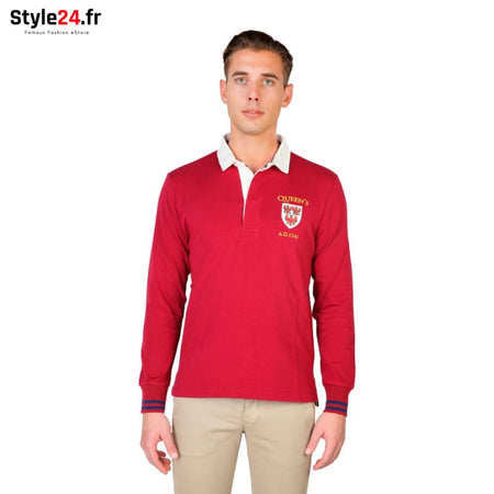 Oxford University - QUEENS-POLO-ML Vêtements Polo Brand_Oxford Category_Vêtements Color_Rouge Gender_Homme Subcategory_Polo www.style24.fr