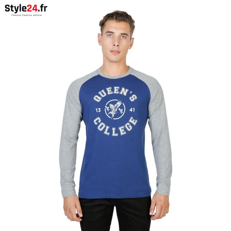Oxford University - QUEENS-RAGLAN-ML Vêtements T-shirts blue / S -65% Brand_Oxford Category_Vêtements color-blue Color_Bleu Gender_Homme