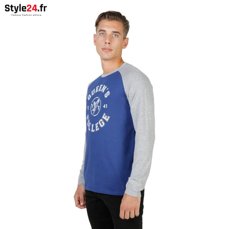 Oxford University - QUEENS-RAGLAN-ML Vêtements T-shirts Brand_Oxford Category_Vêtements Color_Bleu Gender_Homme Subcategory_T-shirts