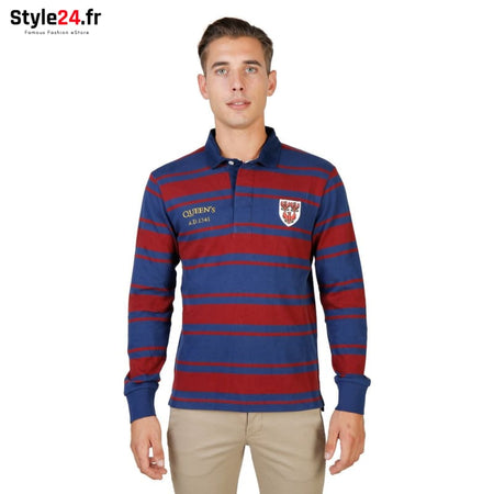 Oxford University - QUEENS-RUGBY-ML Vêtements Polo Brand_Oxford Category_Vêtements Color_Rouge Gender_Homme Subcategory_Polo