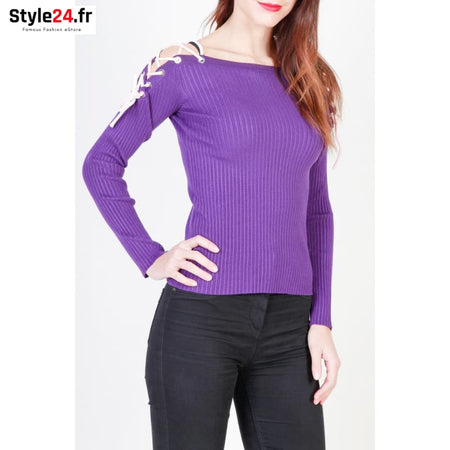Pinko - 1G12N7-Y3LL Vêtements Pulls violet / XS -60% Brand_Pinko Category_Vêtements Color_Violet Gender_Femme Subcategory_Pulls