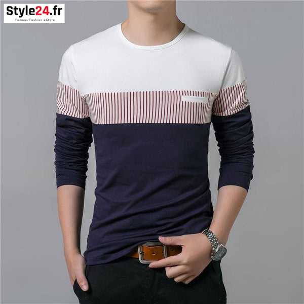 Pull fin fashion bandes | marine Style24.fr Vêtements Pulls 20-50 color-blue color-navy homme manches longues www.style24.fr