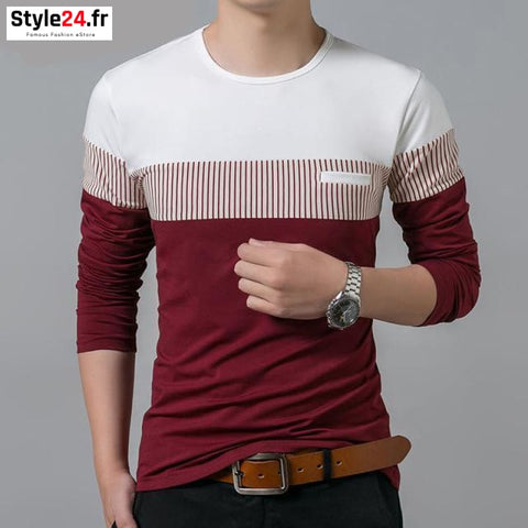 Pull fin fashion bandes | rouge Style24.fr Vêtements Pulls Red / S 20-50 color-red color-rouge homme manches longues www.style24.fr