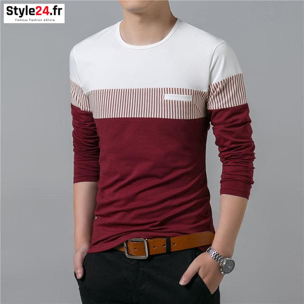 Pull fin fashion bandes | rouge Style24.fr Vêtements Pulls 20-50 color-red color-rouge homme manches longues www.style24.fr