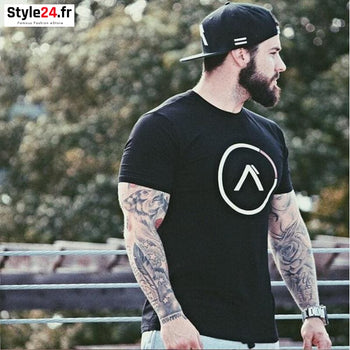 T-shirt slim logo ALPHA bodybuilding Crossfit Style24.fr Vêtements T-shirts color-green color-gris color-kaki color-noir homme