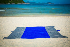 Beach Blanket Oversized Sand Free , Compact Outdoor Beach Mat, 10' x 9' For 7 Adults, Ultra Lightweight, Includes 6 Sand Pockets and 6 Stakes, Ideal for Picnic, Beach Trip,Hiking, Festivals & Sports