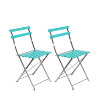 iCorer Wood Patio Bistro Folding Side Chair, Outdoor Patio Furniture Set for Indoor Outdoor Use, Light Blue (Pack of 2)