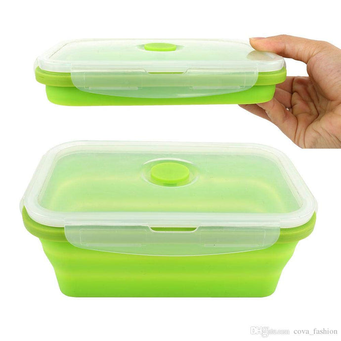 Silicone Lunch Box Leak Proof Collapsible 800ML Food Storage Meal Prep Containers, BPA Free, Microwave Oven Dishwasher Freezer Safe