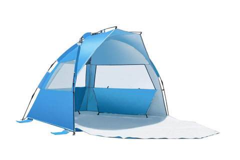 Vgguer Beach Tent Easy Up Cabana Tent Sun Shelter, Deluxe Large for 4 Person, Blue