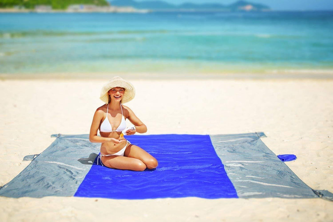 Beach Blanket Oversized Sand Free , Compact Outdoor Beach Mat, 10' x 9' For 7 Adults, Ultra Lightweight, Includes 6 Sand Pockets, Ideal for Picnic, Beach Trip,Hiking, Festivals & Sports