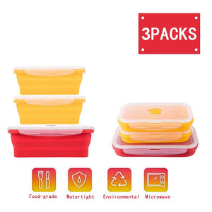 Silicone Lunch Box Leak Proof Collapsible Food Storage Meal Prep Container, BPA Free, Microwave Oven Dishwasher Freezer Safe, 2750ML(3 Pack)