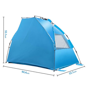 iCorer Beach Tent-Outdoors Easy Up Cabana Tent Sun Shelter Beach Umbrella, Deluxe Large for 4 Person Blue