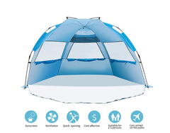 Beach Tent Easy Up Cabana Tent Sun Shelter, Deluxe Large for 4 Person, Blue