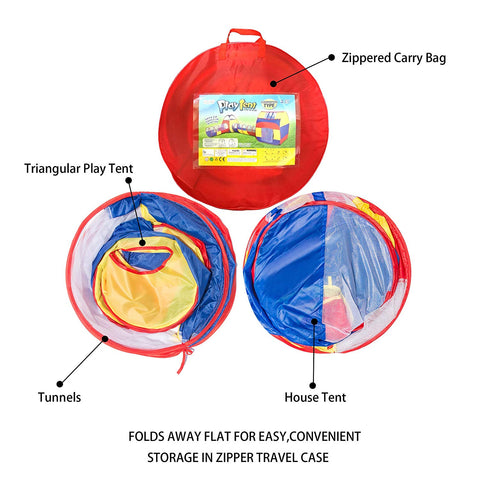 Extra Large Kid Tent 4pc Pop Up Play Tent w/ 2 Crawl Tunnels