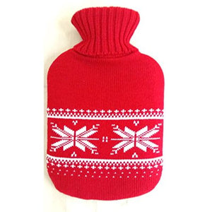 Premium Classic PVC Transparent Hot Water Bottle with Cute Knit Cover, 2 Liter, Red Snowflake