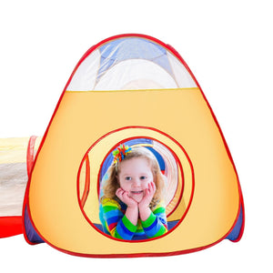Extra Large Kid Tent iCorer 4pc Pop Up Children Play Tent w/ 2 Crawl Tunnels & 2 Tents - Ball Pits for Boys Girls Toddlers for Indoor & Outdoor Use Children Playhouse w/ Zipper Storage Case