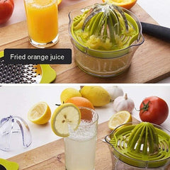 Vgguer 4 in 1 Citrus Lemon Orange Juicer Manual Squeezer with Built-in Measuring Cup and Grater, 12oz, Green