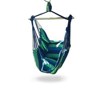 Hammock Chair Swing Seat for Indoor or Outdoor Spaces, S Hook & Rope Included, Blue & Green Stripes, 2 Seat Cushions, Max. 265 Lbs