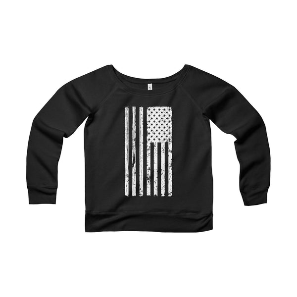 Women's American Flag Fleece Wide Neck Sweatshirt