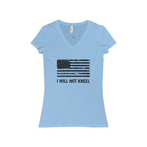 "Women's ""I Will Not Kneel"" V-Neck T-Shirt"