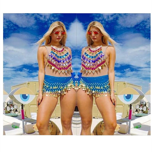 Colorful Crystal Festival Tops | Rave Outfit