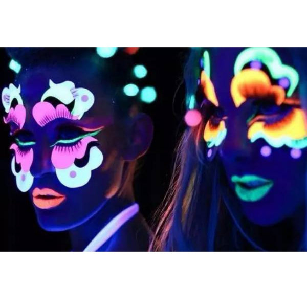 Neon Color Body & Face Painting Makeup UV Reactive Flash Tattoo