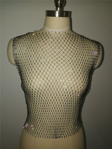 Fishnet Rhinestone Top | Rave Outfit