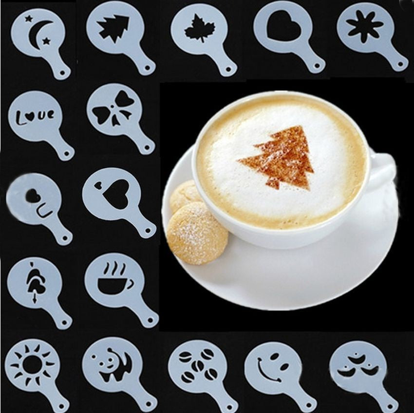 16Pcs Coffee Barista Art Stencils Templates Tools