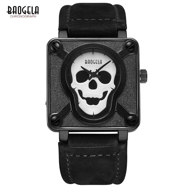 Baogela Skeleton Leather Strap Watches