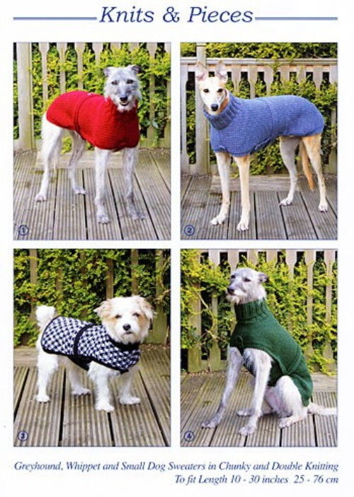 KP-05 KNITS & PIECES - GREYHOUND, WHIPPET AND SMALL DOG SWEATERS IN CHUNKY & DK PATTERN