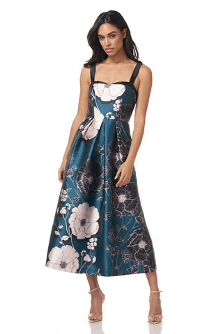 KAY UNGER: PRINTED MIKADO TEA LENGTH DRESS