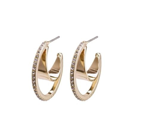PILGRIM - GOLD BEAUTY CRYSTAL HOOPS