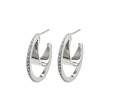 PILGRIM - SILVER BEAUTY CRYSTAL HOOPS