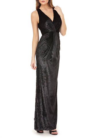 JS GROUP - METALLIC GOWN WITH KNOT DETAIL