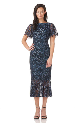 JS GROUP - MIDI DRESS WITH FLUTTER SLEEVE