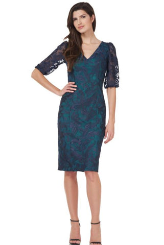 JS GROUP - V-NECK EMBROIDERED DRESS WITH SLEEVE
