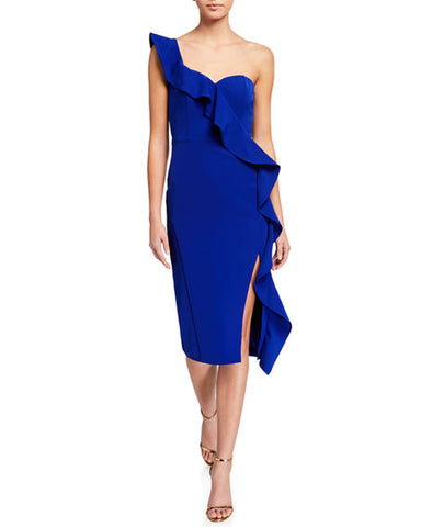 AIDAN MATTOX: RUFFLE ONE SHOULDER DRESS