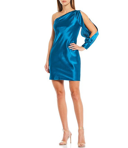 AIDAN MATTOX: ONE SHOULDER LIQUID SATIN SHEATH DRESS