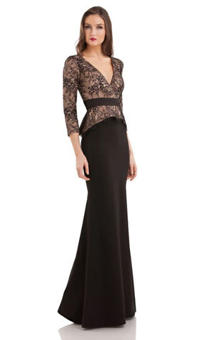 JS GROUP - LACE BODICE PEPLUM GOWN