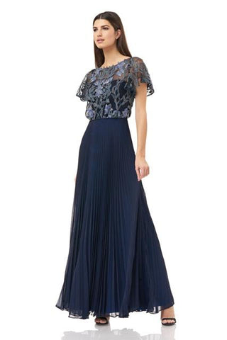 JS GROUP: PLEATED CHIFFON GOWN WITH EMBROIDERY