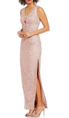 AIDAN MATTOX: ILLUSION V-NECK LACE GOWN