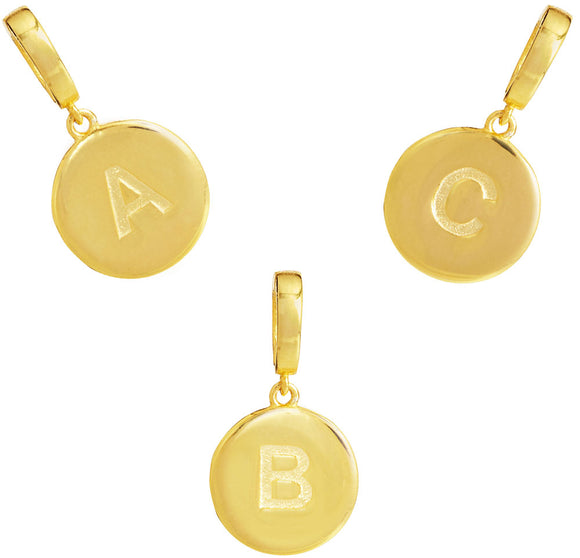 18K Gold Vermeil Initial Removable Charms with Latch (A-Z)