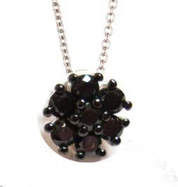 0.50TCW Black Diamond Flower Pendant Necklace