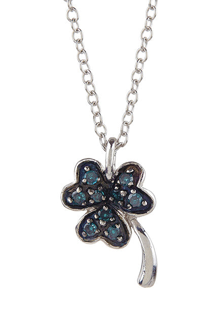 0.13tcw Blue and White Diamond Lucky Charm Necklace